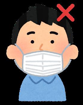 鼻出しマスク、新型コロナ感染対策の効果なしと証明されてしまう・・・